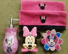 Disney MINNIE MOUSE Toothbrush Holder Lotion Dispenser Soap Dish Towels 5 Pc Lot