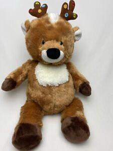 GANZ Merry & Bright Reindeer CHRISTMAS Brown PLUSH Stuffed Dots Lights Antlers
