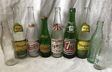 Set of 9 Vintage Glass Soda Pop Bottles: Pepsi, Coke, Vernors, Squirt, 7up
