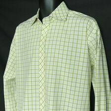 Tailorbyrd Green Checked Casual Shirt Men's XL 100% 2-Ply Cotton Long Sleeve