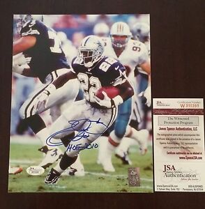 "Emmitt Smith Autograph w/ ""HOF 2010"" Cowboys Pro-Sideline 8x10 Photo JSA/GTSM"