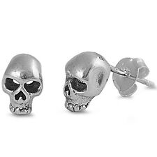 Solid Skull Studs .925 Sterling Silver Earrings