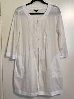 TALBOTS Women's Small Blouse Tunic Kimono 1/2 Button/Open Bell Sleeve Pockets