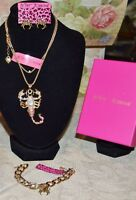 3 PC BETSEY JOHNSON CRYSTAL SCORPION SPIDER NECKLACE SPIDER EARRINGS  BRACELET