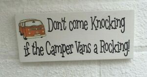 Don't come knocking if the camper vans a rocking fun hanging wooden sign plaque
