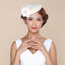 White Womens Wool Felt Flower Veil Cocktail Wedding Fascinator Hat A223