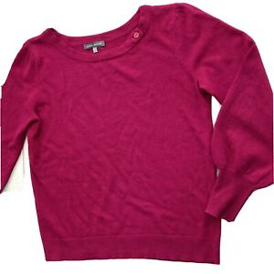 Laura Ashley Merino Alpaca Fine Wool Sweater UK 12 Magenta Pink Balloon Sleeve
