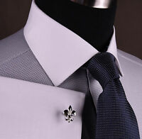 Grey Diamond Formal Business Dress Shirt Snakeskin White Contrast Cuff n Collar