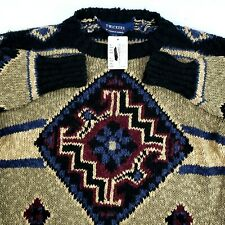 Twickers Southwestern Aztec Native Tribal Design Cotton Linen Sweater Mens M