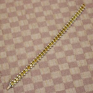 NEW 18K WHITE GOLD 14.50ct YELLOW SAPPHIRE & DIAMOND (VS/G) BRACELET 6.75 inches