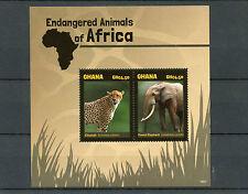 Ghana 2014 MNH Endangered Wild Animals of Africa 2v S/S I Cheetah Elephant