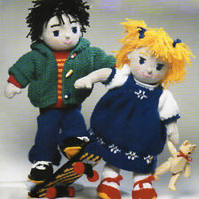 """Knitted Boy/Girl Rag Doll with Clothes 15""""  DK Knitting Pattern"""