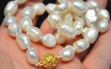"9-10mm Natural white freshwater baroque pearl necklace 18"" LL001"