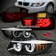 BLACK 3D HALO PROJECTOR HEADLIGHT+SMOKED RED LED TAIL LAMP FOR 06-08 3-SERIES
