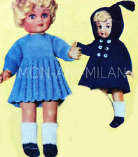 """50's Knitting Pattern DOLLY DOLLS CLOTHES, DUFFLE COAT, DRESS SOCKS SHOES 10-16"""""""