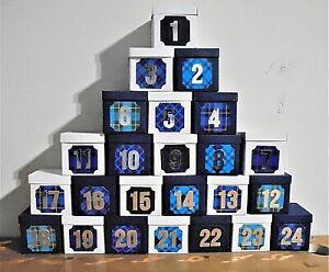 Die Cut Christmas Advent Calendar Kit - Blue and White