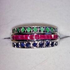 Multicolor Damenring 925er Sterlingsilber rhodiniert Smaragd Rubin Saphir