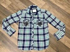 Justice Girls Blue Green White Glitter Thread  Sequin  Beads Flannel Top 12 EUC