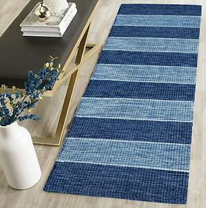 Cotton Handwoven Reversible Striped Runner(2X5 Ft, Blue)Looks Great Everywhere