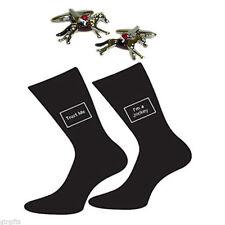 Jockey on Horseback Cufflinks and Trust me Jockey Socks Gift Set PSN279-X6S155