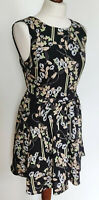 OASIS Ladies Sleeveless Fit & Flare Black Floral Knee Length Dress Size UK 10