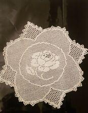 "Antique MARY CARD ""Rose"" 1933 Filet Hand Crochet Cream Doily w Intricate Edging"
