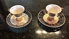 Vintage Pair of Royal Crown China Tea Cups And Saucers 906 Made In Japan