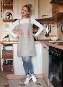 JAPANESE Style LINEN APRON (cross back apron), aprons for women,pinafore apron,c