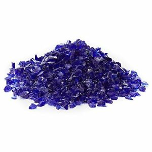 "Cobalt Blue Multi-Purpose Decor,, Aquarium & Fire Glass Rock 1/4""-1/2"" Crushed"