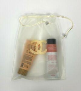 Chanel CC New Auth Medium Clear Rubber Plastic Cosmetic Bag Travel Drawstring
