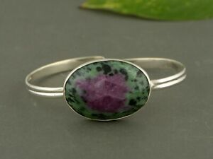 Elegant 925 Sterling silver Ruby Zoisite stone Bangle  Jewelry for gift