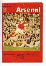 (Ga5213-469) Arsenal vs Hull City League Cup 4th Round 29/11/1975 G-VG