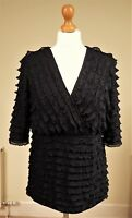 Alexon Sz L 14/16 Black Ruffles Knitted Party Top Fixed Wrap Jumper Frill Lined