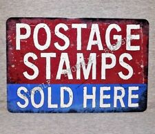 Metal Sign POSTAGE STAMPS post office USPS postal mailman mail carrier worker