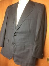 Oxxford Clothes Men's Wool Charcoal Pinstripe 2 Piece Suit 44R 33x28 FLAWS (T1)