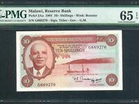 Malawi:P-2Aa,10 Shillings,1964 * Dr. Kamuzu Banda * PMG Gem UNC 65 EPQ *