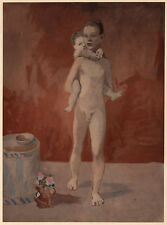 """1930 PABLO PICASSO Limited Edition Pochoir """"Man and Child"""" FRAMED COA"""