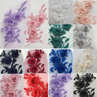 3D Embroidery Flower Lace Bridal Applique Pearl Beaded Tulle DIY Wedding Dress w