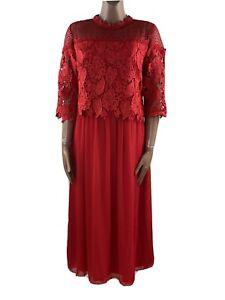 LITTLE MISTRESS Red Lace Layered Midi Dress UK 18