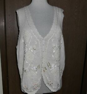 Vtg Maggie Lawrence Sweater Vest 18/20W Embroidery Ribbons Pearls NWT