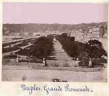 Italie, Naples - Grande Promenade  Vintage albumen print. Italy.  Tirage alb