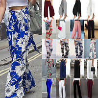 Womens Loose Wide Leg Long Pants Palazzo High Waist Casual Flared Yoga Trousers