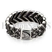 Punk Men's Wide Heavy Stainless Steel Skull Bracelet Jewelry Link Wristband Gift