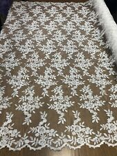 Lace Fabric - Bridal Flower/Floral Embroidered Mesh Ivory Wedding By The Yard