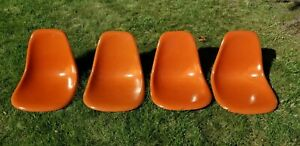 4 Eames Herman Miller Orange mid century modern fiberglass shell chairs w labels