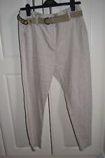 MARKS & SPENCER Per Una Natural Linen TROUSERS With Belt Size 14 Short Worn Once