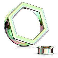 Ear Tunnels 05mm/4 Gauge Body Pair-Hexagon Titanium Rainbow Ip Double Flare