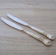 Godinger Grand Master Gold Electroplate Dinner Knives Floral Handle Set of Two