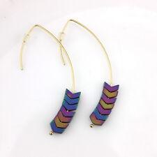 Women Chevron Drop Earrings Natural Hematite Stone Arrow V-Shaped Hoop Earrings