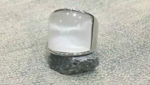 925 Sterling Silver Men's Ring With White Moonlight Stone Polished Classic Band